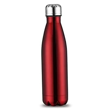 Kingnew Vacuum Bottles, aislado Acero inoxidable Agua vacío Botella doble pared con un cepillo para exterior de deportes Senderismo Correr (Rojo, 1L)
