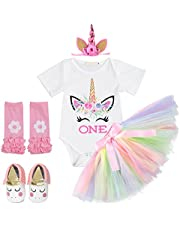 Baby Girl 1st Birthday Smash Cake Outfits Unicorn Flower Romper Tulle Strips Tutu Princess Party Halloween Costume