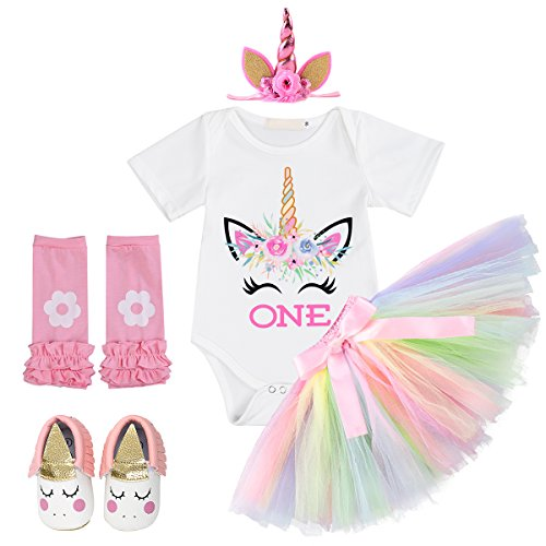 Unicorn Birthday Outfit Baby Girls Unicorn ONE Romper + Ruffle Tulle Skirt+ Shiny Horn Headband+ Leg Warmers+ Moccasins Shoes Fancy Dress up Carnival Party Costume 5Pcs Tutu Set Clothes White 12-18M ()