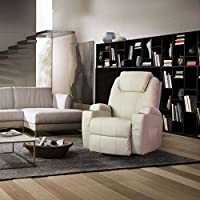 Erfect Heated Massage Recliner PU Leather 360 Degrees Swivel Lounge Sofa (Cream)