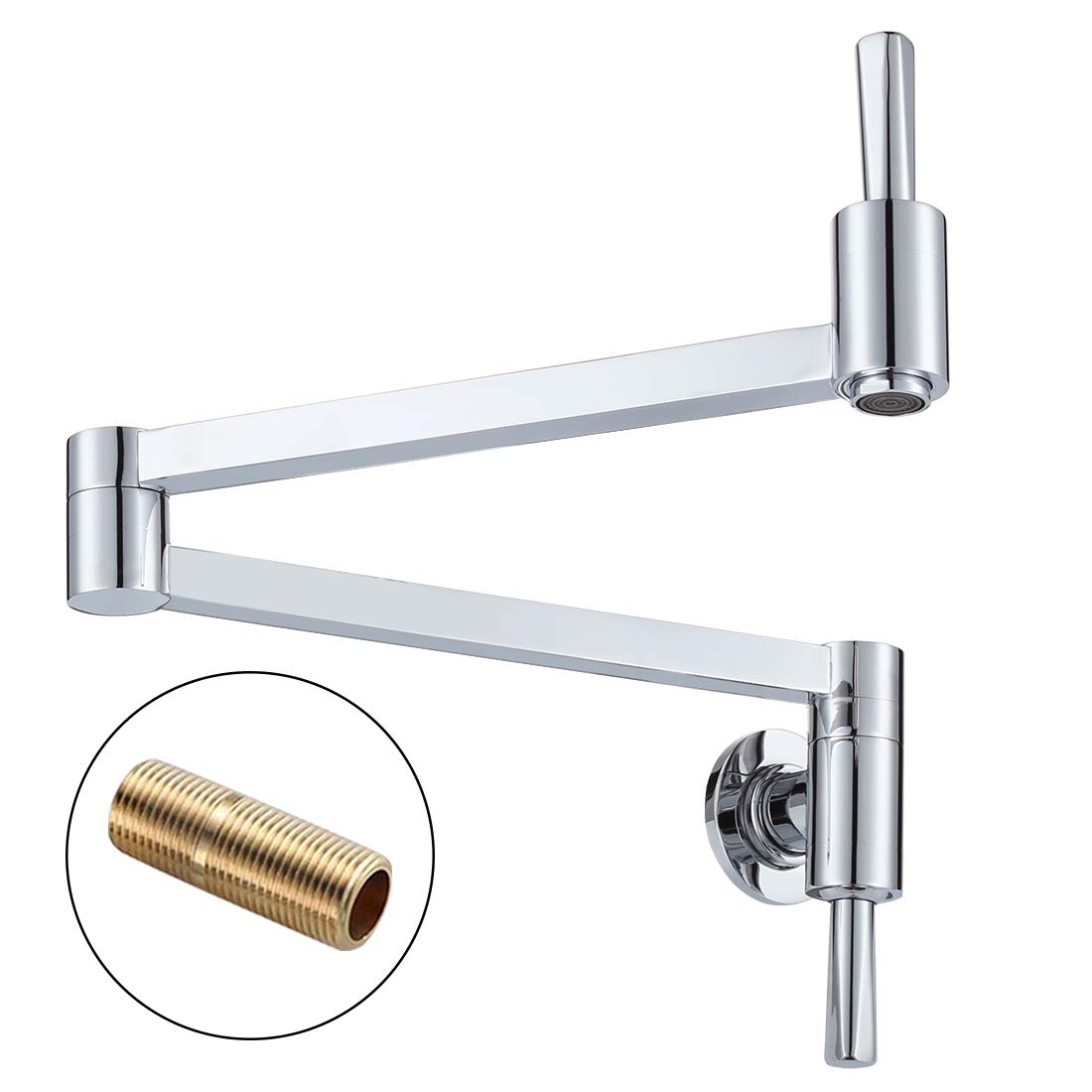 WOWOW Pot Filler Faucet Chrome Commercial Faucet Folding Kitchen Faucet Lead-free Wall Mount Restaurant Faucet Brass 2 Handles Double Joint Swing Arm Kitchen Faucet by WOWOW