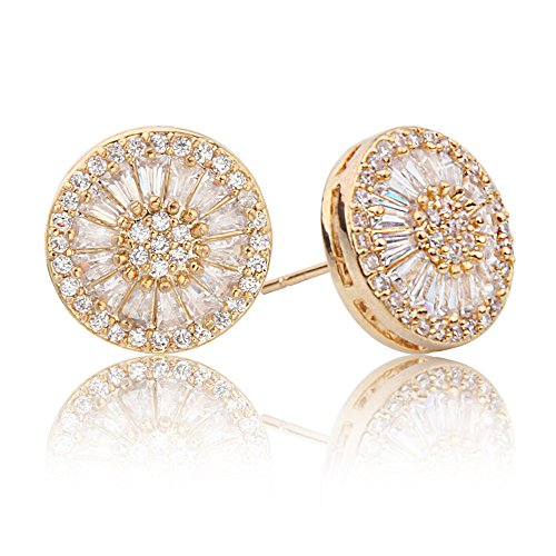 Sun Round Ring (Bishun Hypoallergenic White Cubic Zirconia Earrings Round Halo Sun Sunshine Stud Earrings (Gold))
