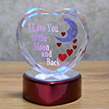 I Love You To The Moon and Back Glass Heart - LED Color Changing Red Heart Shaped Base - Baby - Husband - Wife - Girlfriend - Boyfriend - Mom - Grandma