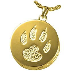 Memorial Gallery Pets 3832gp Cat Paw 14K Gold/Sterling Silver Plating Cremation Pendant