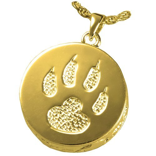 gold-Plated Sterling Silver Memorial Gallery Pets 3832gp Cat Paw 14K gold Sterling Silver Plating Cremation Pendant