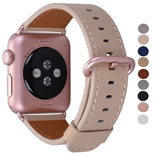 Compatible Iwatch Band 42mm 44mm - PEAK ZHANG Women Men Genuine Leather Replacement Strap with Rose Gold Adapter and Buckle Compatible Series 4 (44mm) Series 3 2 1 (42mm), Light Tan
