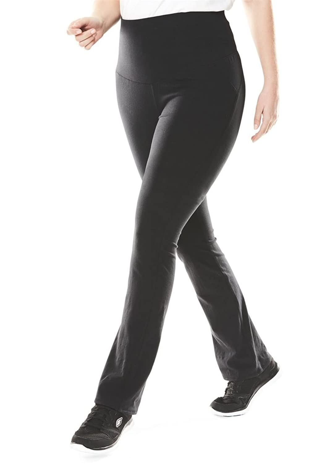 Women's Plus Size Smooth Waist Tummy Control Petite Stretch Knit Bootcut Pants