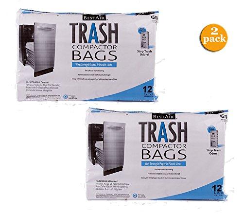 BestAir Trash Compactor Bags(16 D. x 9 W. x 17 H,pack of 12) (2 Pack)