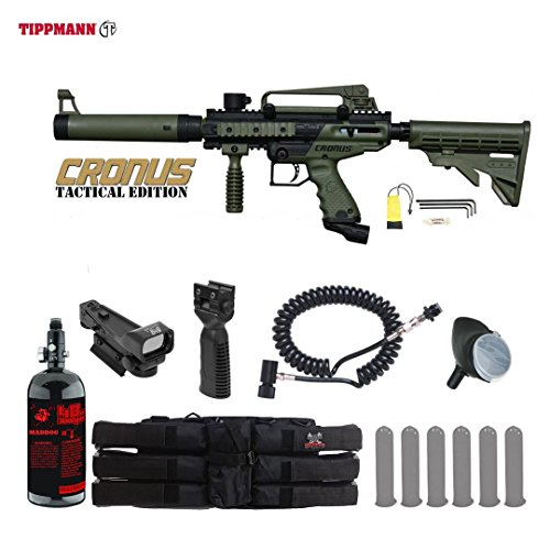 Tippmann Cronus Tactical HPA Red Dot Paintball Gun Package - Black / Olive (Deluxe Red Dot Sights)