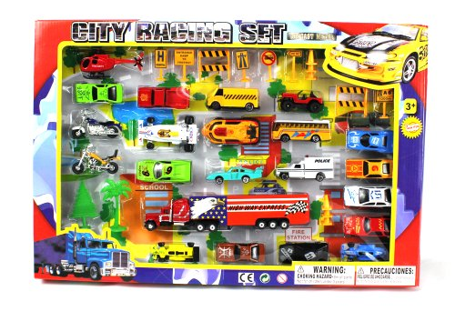 Metro Deluxe City Speed Racing 40 Piece Mini Toy Diecast Veh