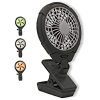 O2COOL 5' Clip On Fan - Battery Operated with 2 Speeds - Adjustable Tilt & Swivel Feature for Outdoor, Office Desk & Dorm Room (Grey)