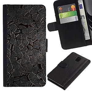 KingStore / Leather Etui en cuir / Samsung Galaxy Note 3 III / Diseño natural Hielo Medio Ambiente