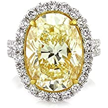 Mark Broumand 11.62ct Fancy Light Yellow Oval Cut Diamond Engagement Ring and Pendant