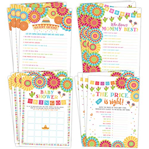 Fiesta Mexican Baby Shower Games, Bingo, Find The Guest, The Price Is Right, Who Knows Mommy Best, 25 games each (Mexican Party Invitation)