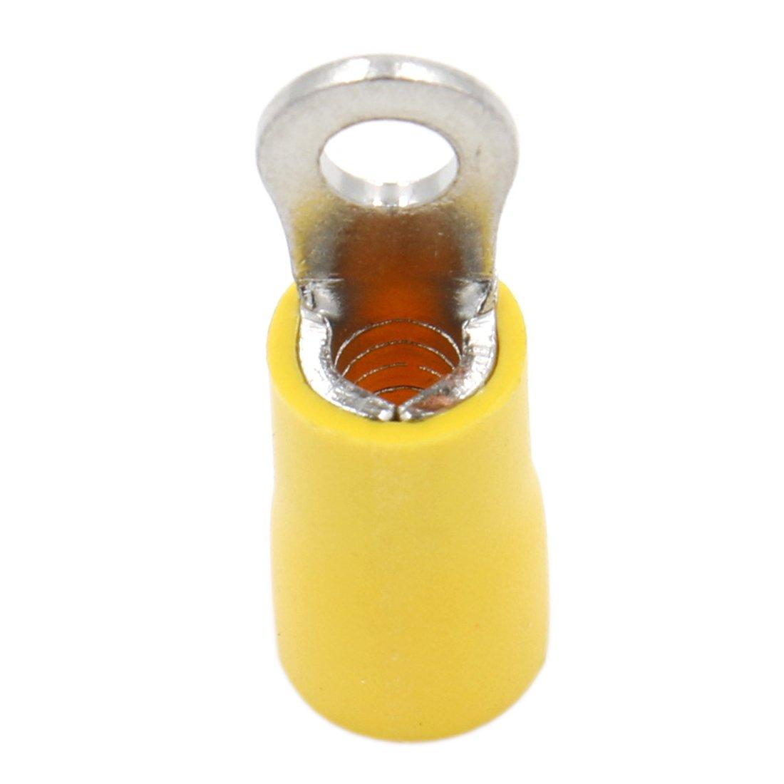 Jaune Lot de 100 6/mm/² Heschen Ring Terminal Vinyle raccords /à sertir isol/ée Fil /électrique connecteur Rv5.5 12/–10/AWG 5//à tige Taille # 10/pour 4