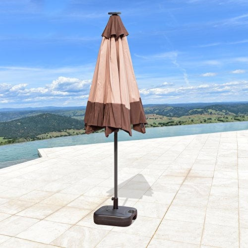SUPERNOVA 9'FT Solar 24 LED Lights Patio Umbrella Garden Outdoor Sunshade Market (LED Coffee & Khaki Mix)