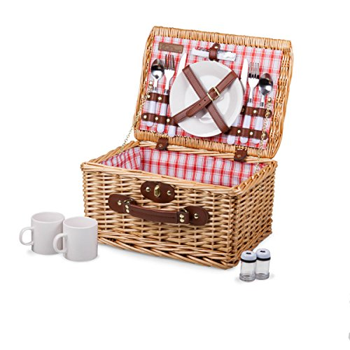 (Picnic Time Catalina English Style Picnic Basket with Service for Two, Red and White Plaid)