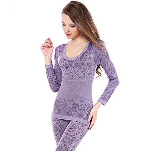 Dapengzhu New Fashion Breathable Warm Long Ladies Slim Underwears Sets bottoming Women tunic Winter Thermal Underwears 7001 Violet S by Dapengzhu (Image #4)