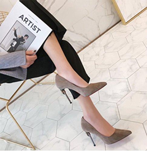 MDRW-Lady/Elegant/Arbeit/Freizeit/Feder Mode Wildleder Sexy Punkt Fein Mit 10 Cm Heels Sexy Wildleder All-Match Khaki Beruf Schuhe 37 f5ad81