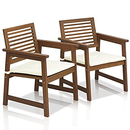 Amazon Com Set Of 2 Outdoor Chairs With Cushions Teak Wood