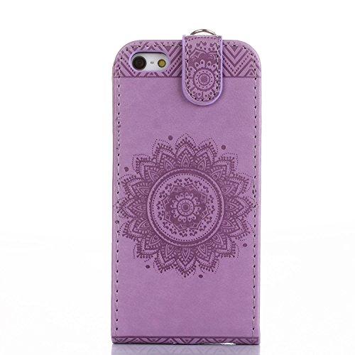 Für Apple iPhone 5 5G 5S / iPhone SE (4 Zoll) Tasche ZeWoo® Ledertasche Kunstleder Brieftasche Hülle PU Leder Schutzhülle Case Cover - GH010 / lila
