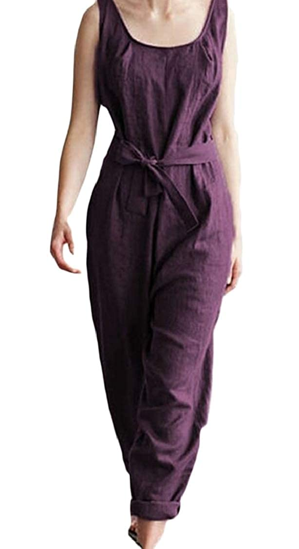 pipigo Womens Sleeveless Fashion Plus Size Belted Wide Leg Long Rompers Jumpsuits