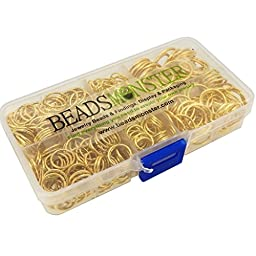 BeadsMonster Jewelry Findings Jump Rings, 10,12,14,16,20mm, Gold Color, with Box