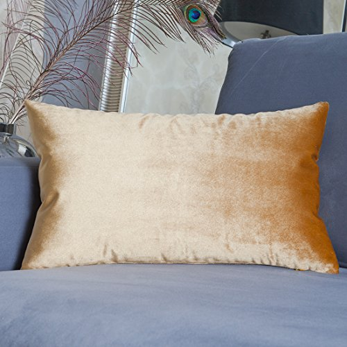 Luxury Velvet Oblong Throw Pillow Cover Cushion Cover for Sofa by Home Brilliant, 12