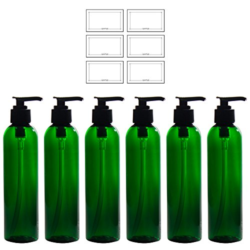 (8 oz Green Tall Slim Plastic PET Refillable BPA Free Bottles with Black Lotion Pump Dispensers (6 pack) + Labels)