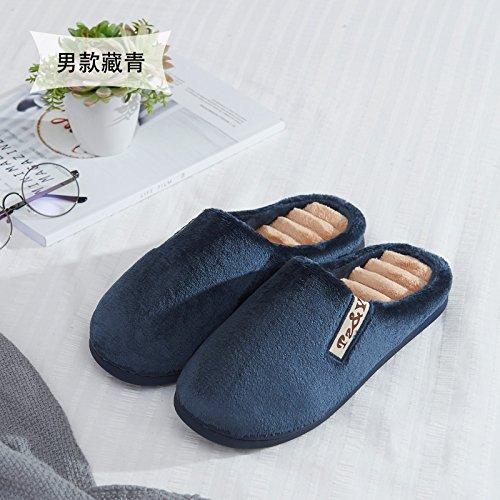 Habuji morbido cotone con suole di pantofole inverno all'interno carino home caldo semi coperto con spesse pantofole uomini inverno, 41-42, blu scuro