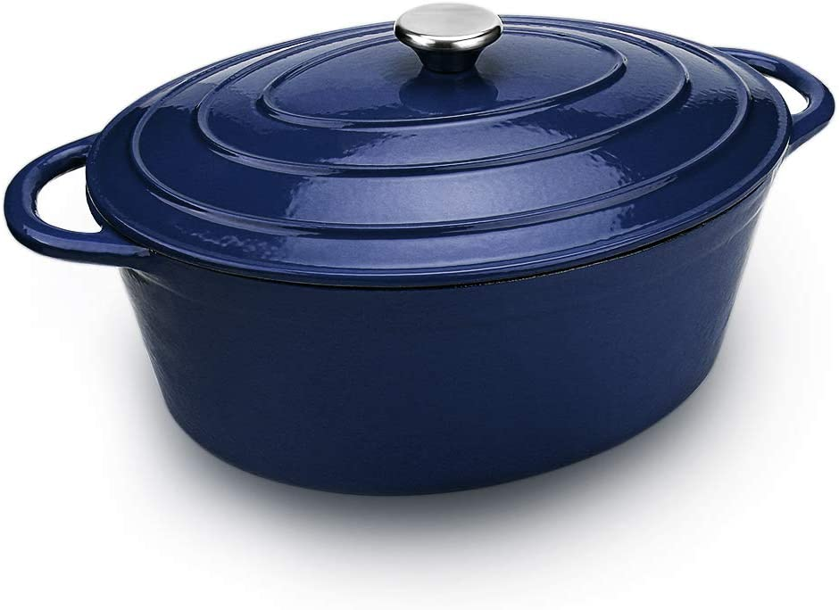 AIDEA Dutch Oven Enameled Cast Iron Oval, Bread Baking Pot with Lid & 7-Quart Natural Non-Stick Slow Cook Self