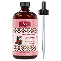 Beauty Aura Wintergreen Essential Oil - 4 Oz. Bottle - 100% Pure, Undiluted Therapeutic Grade Oils - Ideal for Aromatherapy