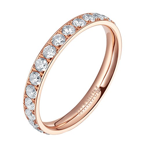 TIGRADE 3mm Women Titanium Engagement Ring Cubic Zirconia Eternity Wedding Band Size 3 to 13.5, Rose Gold, Size ()