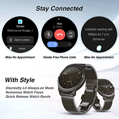 Ticwatch 2 Classic 42mm Stainless Steel Smartwatch - Onyx - Mobvoi  Voice Contral Ticwear OS Compatible with Android  and iOS,Personal Assistant on your wrist. by Ticwatch (Image #2)