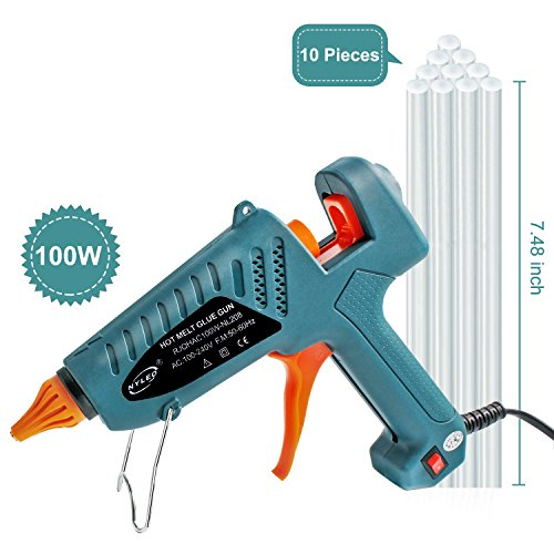 Hot Glue Gun Kits, 10pcs Glue Sticks High Temperature Melting Glue Gun 100-Watt Industrial Glue Gun Flexible Trigger for DIY Small Craft Projects&Sealing and Quick Repairs by Yougai