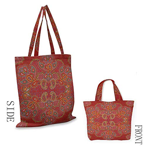 portable shopping bag Red MandalaMoroccan Persian Design Oriental Rectangular Paisley Floral Print Burngundy Blue and White18