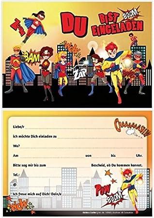 12 tarjetas de invitación Super Héroes: 12 Juego de ...