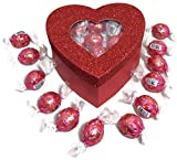 Valentine's Day Glitter Heart Box Filled w/ Lindor Truffles, Large Deal (Small Image)