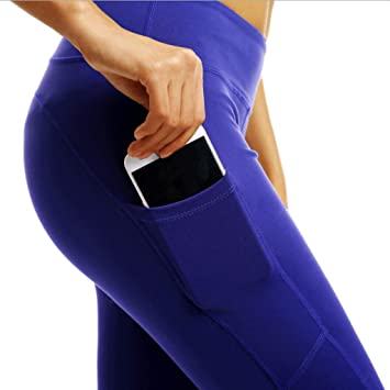 Zcx Pantalones De Yoga De Cintura Alta para Mujeres Bolsillo ...