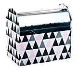 See Jane Work (TM) Tin Caddy, 8''H x 8 3/8''W x 5 1/8''D, Black Pink Triangle Design with 4-Pack of Bic Atlantis Pens