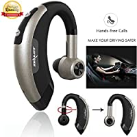 Wireless Earphone Bluetooth Headphone Handsfree Earpiece with Mic Car Headset Earhook Earpiece Hifi Noise Isolation Earbud for Right or Left Ear (Black With Grey)