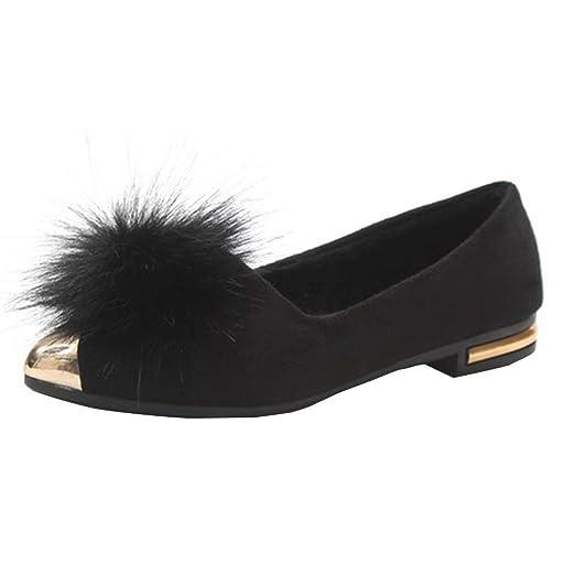 1d116cee66 Dressin Women's Plush Ball Pointed Toe Plus Velvet Flat Bottom Comfortable  Leisure Shoes