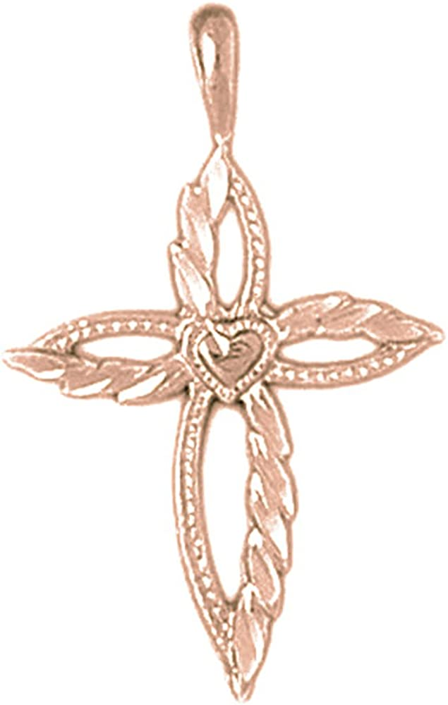 Jewels Obsession Solid 14K Rose Gold Cross Pendant 30 mm