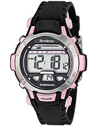 Women's 45/7036PNK Pink Accented Black Resin Strap Digital Chronograph Sport Watch