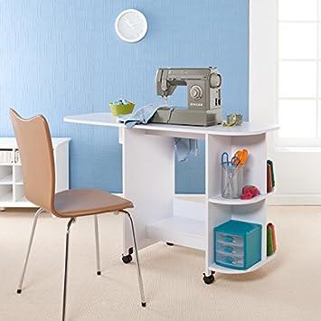 Upton Home blanco mesa para máquina de coser plegable, 29,5 en. H ...