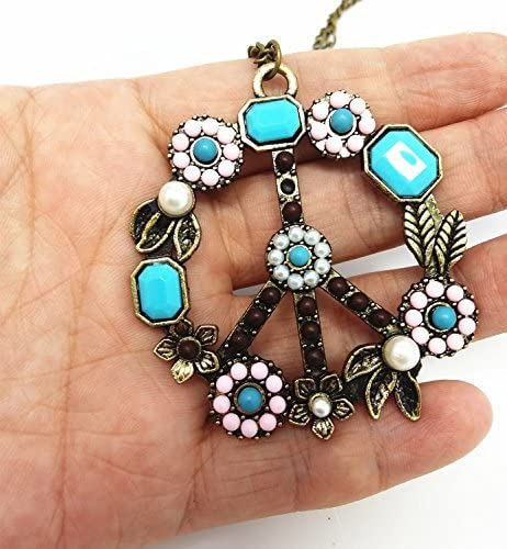 Hippie Dress | Long, Boho, Vintage, 70s QTMY Fashion Antiwar Peace Sign Long Statement Choker Necklace Jewelry Collar with Pendant Chain for Women $8.99 AT vintagedancer.com