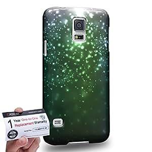 Case88 [Samsung Galaxy S5] 3D impresa Carcasa/Funda dura para & Tarjeta de garantía - Art Fashion Emerald Green Particle