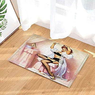 Feng Rubia Sexy con lencería Negra Alfombra de baño para niños ...