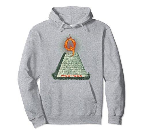 Pyramid Dollar Bill - Unisex Q Anon Dollar Bill Illuminati Pyramid WWG1WGA Hoodie Medium Heather Grey