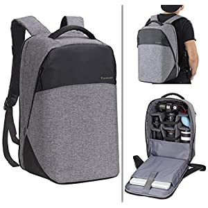 Finnkare New Polyester Outdoor Large DSLR SLR Backpack Padded Camera Bag Video Photo Photography Waterproof Backpack for Lens and Accessories with Laptop Pocket for Canon Nikon Black&Grey